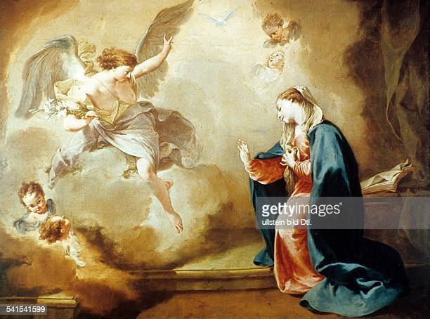Paintings Archangel Gabriel announcing Mary the upcoming birth of Jesus Christ painting by Giambattista Pittoni 1758