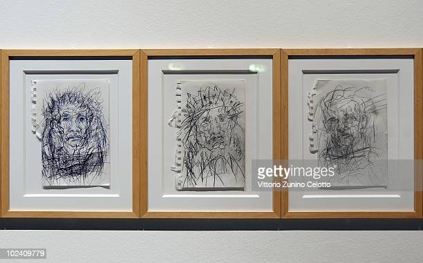 Paintings by singer and poet Alan Vega are displayed at 'It's Not Only Rock'n'Roll Baby' Exhibition At Triennale Bovisa on June 25, 2010 in Milan,...
