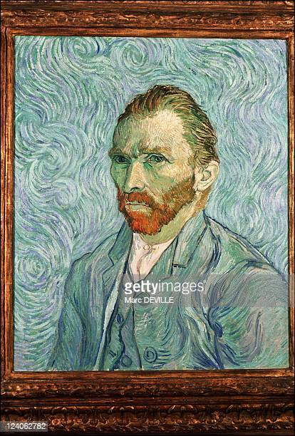 Paintings by Vincent Van Gogh in Paris France In February 1990 Portrait of the Artist 1887 Musee d'Orsay Paris