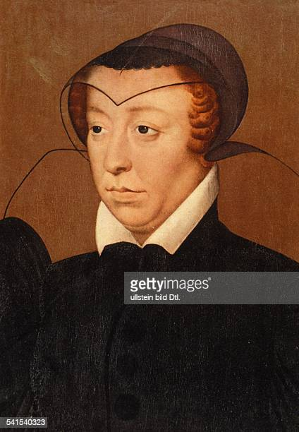 Paintings Catherine de' Medici *13.04.1519-05.01.1589+ wife of Henry II, King of France Portrait, painting by R. Clouet - undated - 16th century