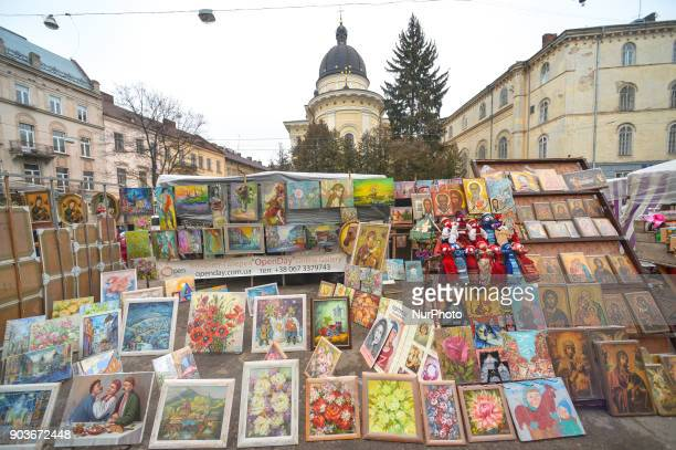Paintings for sale at the flea market near Vicheva Square in Lviv's Old Town On Wednesday 11 January 2018 in Lviv Ukraine