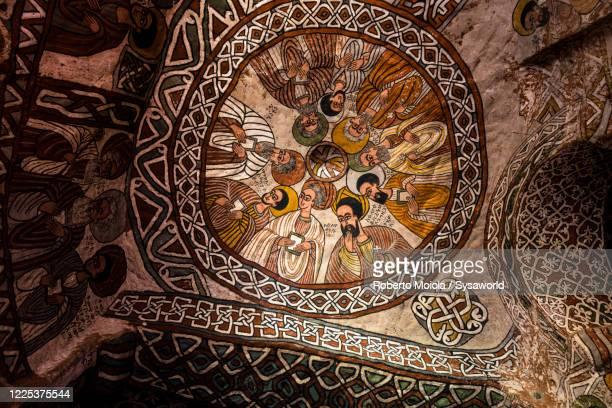 paintings in abuna yemata guh church, tigray region, ethiopia - byzanz stock-fotos und bilder