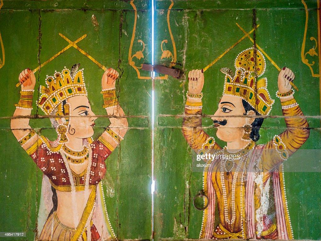 Paintings in Jain temple Bhandreshwar Bikaner India : Stock Photo