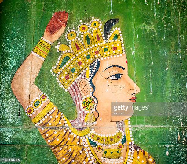 Paintings in Jain temple Bhandreshwar Bikaner India