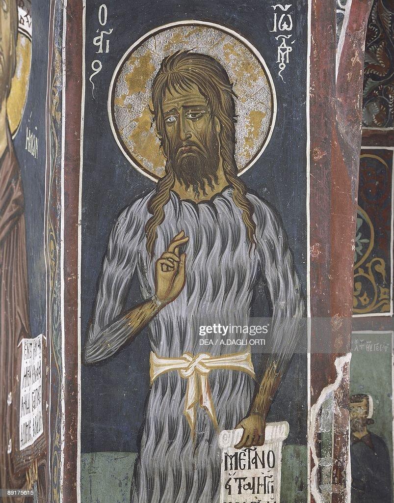 Paintings of St. John the Baptist, Panagia Ties Asinou Church, Nikitari, Cyprus : News Photo