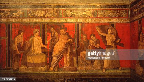 Paintings of the Villa of the Mysteries in Pompei by unknown campanian artist 1st century AD fresco Italy Campania Pompei Villa of the Mysteries...