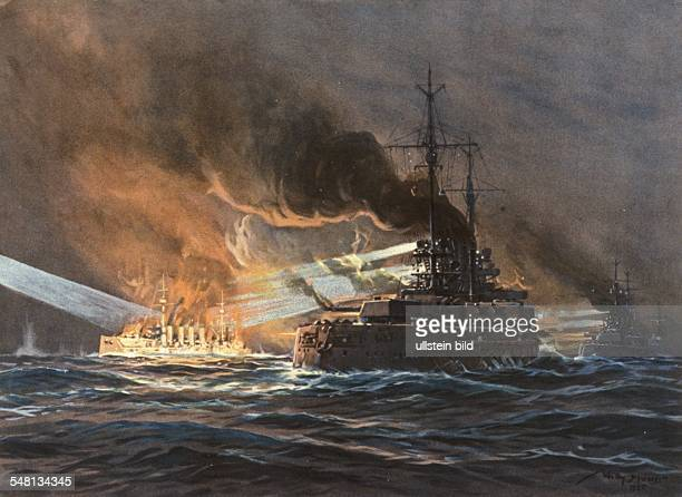 Paintings of World War I Battle of Jutland Destruction of the British armored cruiser 'Black Prince' painting by Willy Stwer 1916 Photographer...