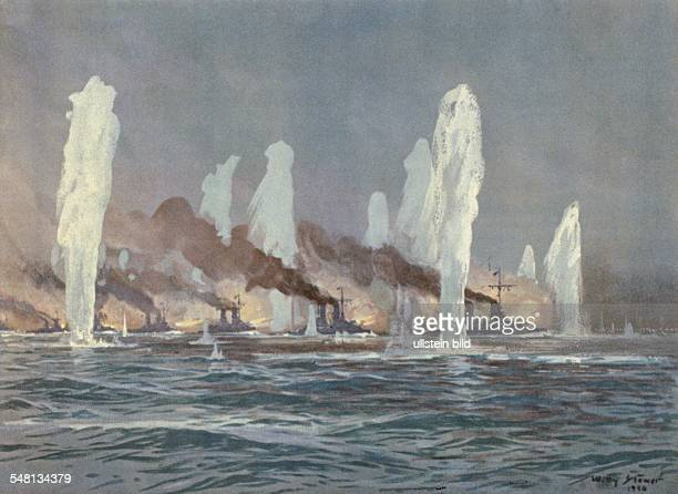 Paintings of World War I Battle of Jutland warships of the High Seas Fleet in combat painting by Willy Stwer 1916 Photographer ullstein Willy Stwer