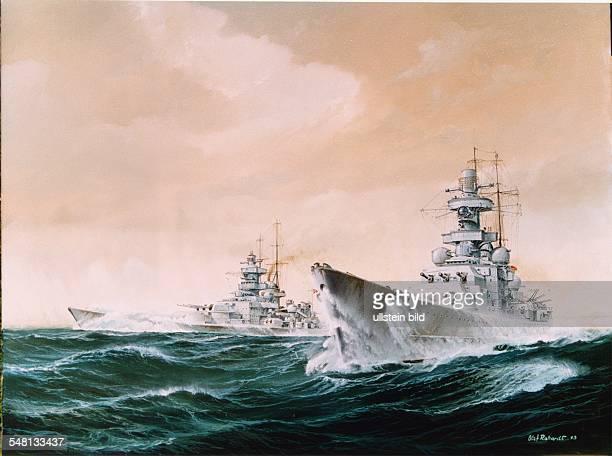 Paintings of World War II German battleships Scharnhorst and Gneisenau on the high seas in the North Atlantic - oil painting by Olaf Rahardt around...