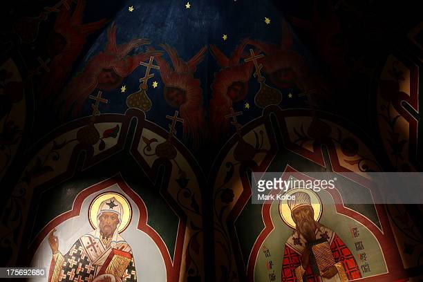 Paintings on the roof are seen inside St Basil's Cathedral in Red Square ahead of the IAAF World Championships on August 6 2013 in Moscow Russia