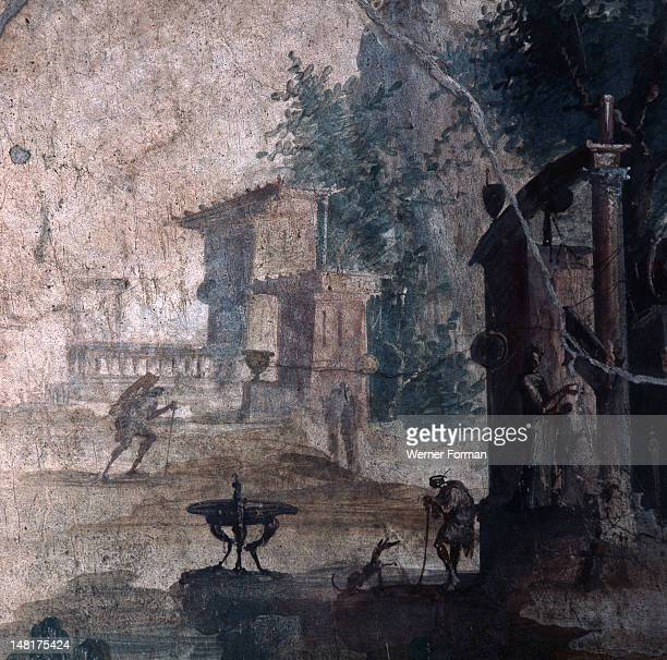 Paintings which depicted romantic landscapes of rustic shrines and sacred trees were a popular theme in decorated Roman interiors This example is...