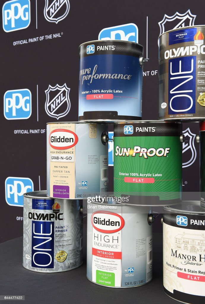 2017 coors light nhl stadium series pittsburgh nhlppg press ppg paints are seen in front of the nhl logo during the nhlppg press mozeypictures Gallery