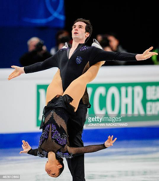 Pair Amani Fancy and Christopher Boyadji of Great Britain perform their free skating program routine during the ISU European Figure Skating...