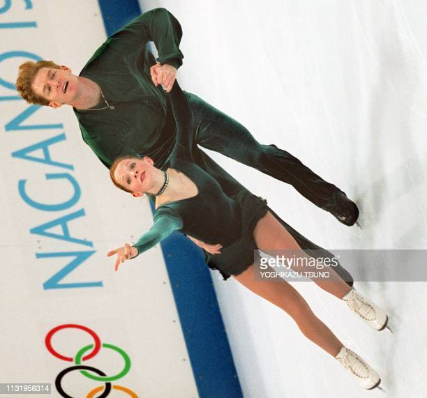 US pair Jenni Meno and Todd Sand train at the White Ring in Nagano 05 February two days before the start of the 18th Winter Olympics