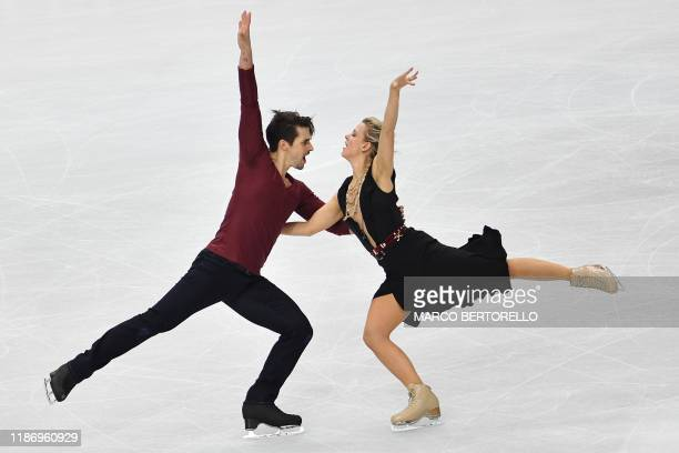 US pair Madison Hubbell and Zachary Donohue perform during the Ice Dance Free Dance program at the ISU Grand Prix of figure skating Final 2019 on...