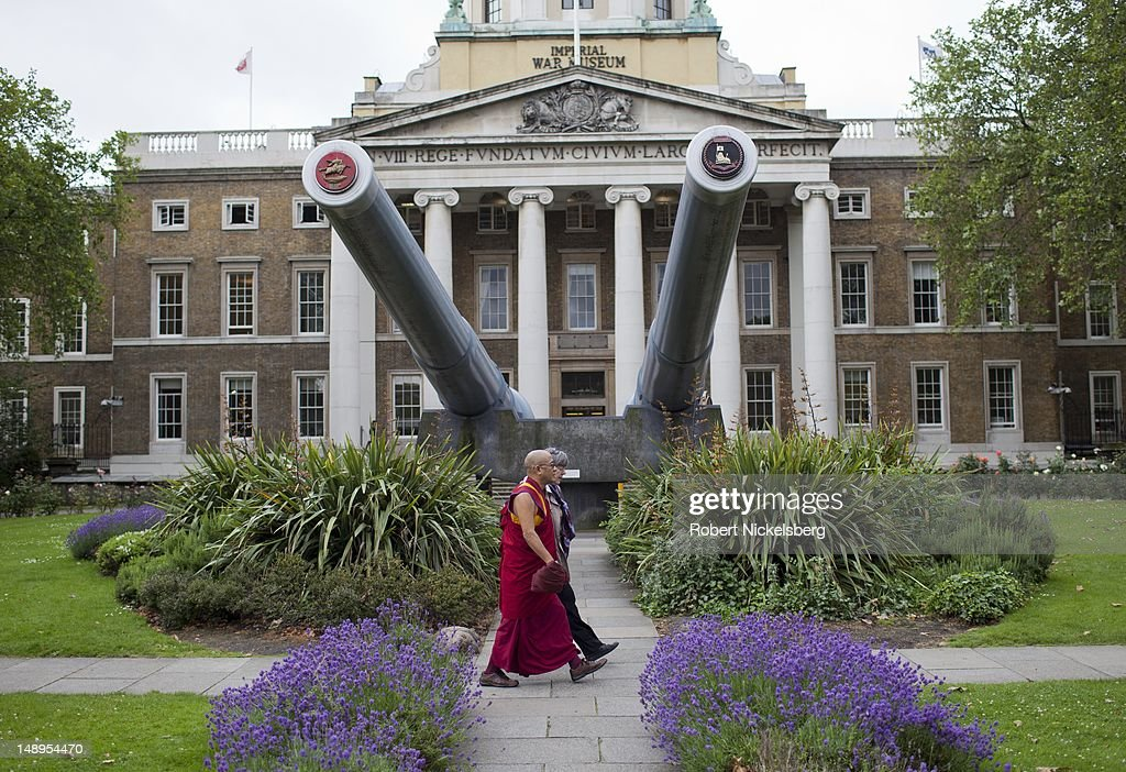 A pair of 15' naval guns from the British battleships HMS Rodney and HMS Ramilles are positioned July 3, 2012 in the front garden of the Imperial War Museum in central London, England. Founded in 1917, the museum is housed on the site of the Bethlem Royal Hospital, a psychiatric hospital, known as 'Bedlam.'