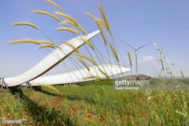 Pair of 51.5 meter long, 17 ton blades are stored in a field during construction of a new wind turbine as part of the Valley of Tears wind turbines...