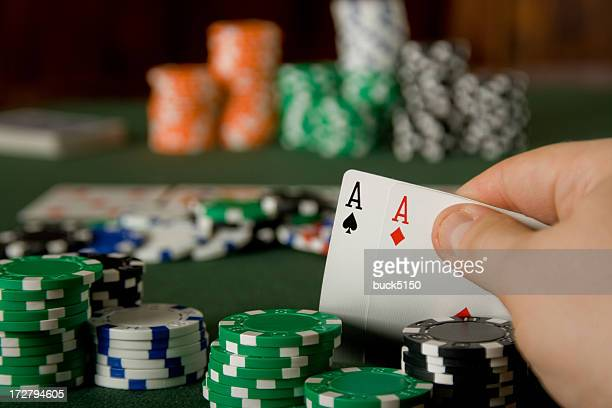 Pair of aces in Texas Hold'em poker game