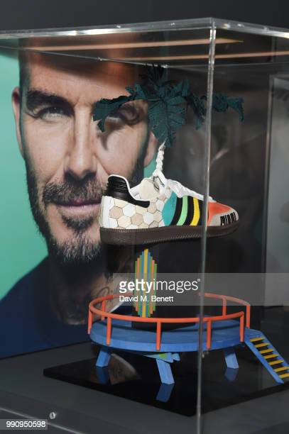 A pair of adidas designed by David Beckham at the adidas 'Prouder' A Fat Tony Project in aid of the Albert Kennedy Trust supporting LGBT youth at...