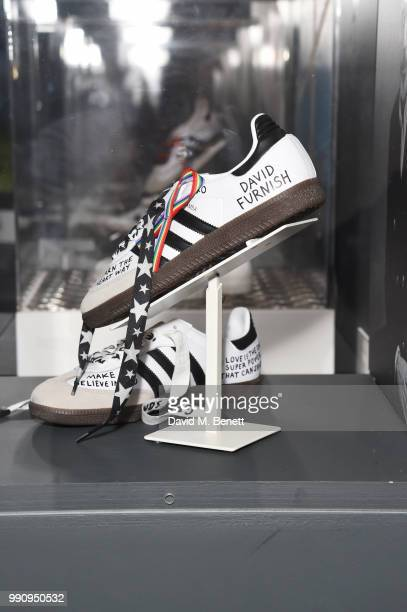 A pair of adidas designed by David Furnish at the adidas 'Prouder' A Fat Tony Project in aid of the Albert Kennedy Trust supporting LGBT youth at...