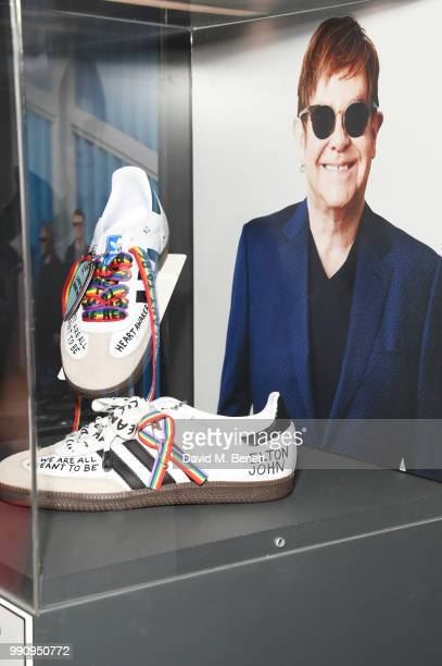 A pair of adidas designed by Sir Elton John at the adidas 'Prouder' A Fat Tony Project in aid of the Albert Kennedy Trust supporting LGBT youth at...