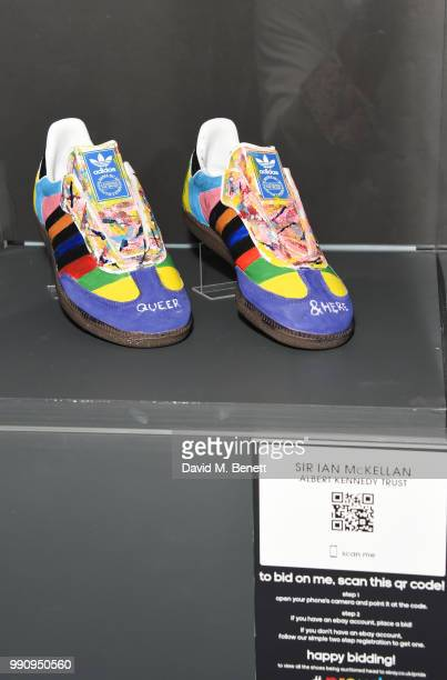 A pair of adidas designed by Sir Ian McKellen at the adidas 'Prouder' A Fat Tony Project in aid of the Albert Kennedy Trust supporting LGBT youth at...