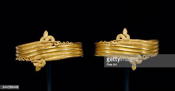 Pair of Ancient Greek wrist bracelets in the form of coiled snakes gold made in Alexandria Egypt c 220100 BC J Paul Getty Museum Malibu California