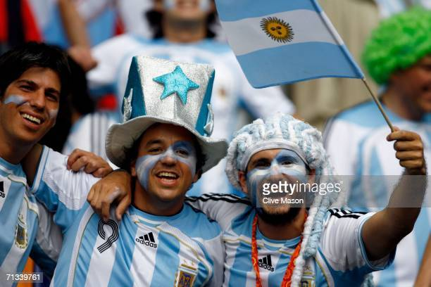 A pair of Argentina fans show their support prior to the FIFA World Cup Germany 2006 Quarterfinal match between Germany and Argentina played at the...