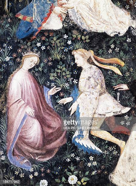 Pair of aristocrats detail from the Month of May panel taken from Cycle of the Months by Master Venceslao fresco Tower Aquila Buonconsiglio Castle...