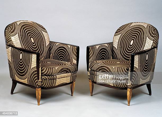 Pair of Art Deco style armchairs Ducharne model by JacquesEmile Ruhlmann France 20th century