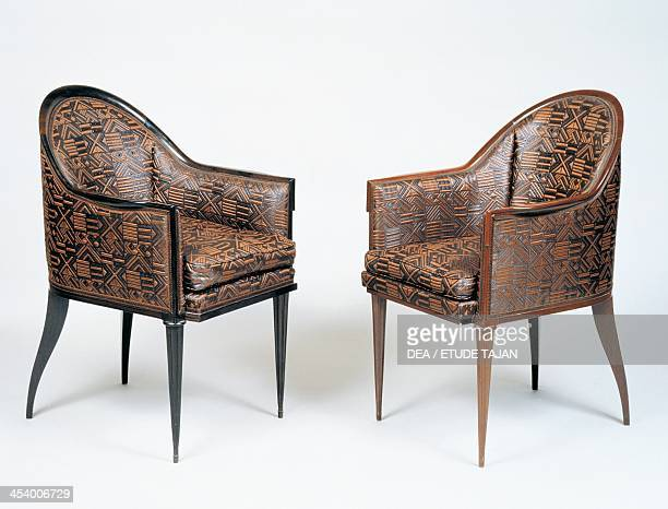 Pair of Art Deco style armchairs Guinde model by JacquesEmile Ruhlmann Macassar ebony France 20th century
