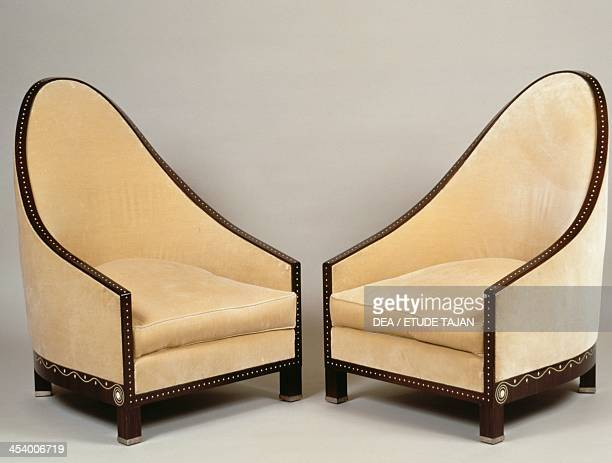 Pair of Art Deco style cathedral armchairs Doucet model 1913 by JacquesEmile Ruhlmann Macassar ebony France 20th century