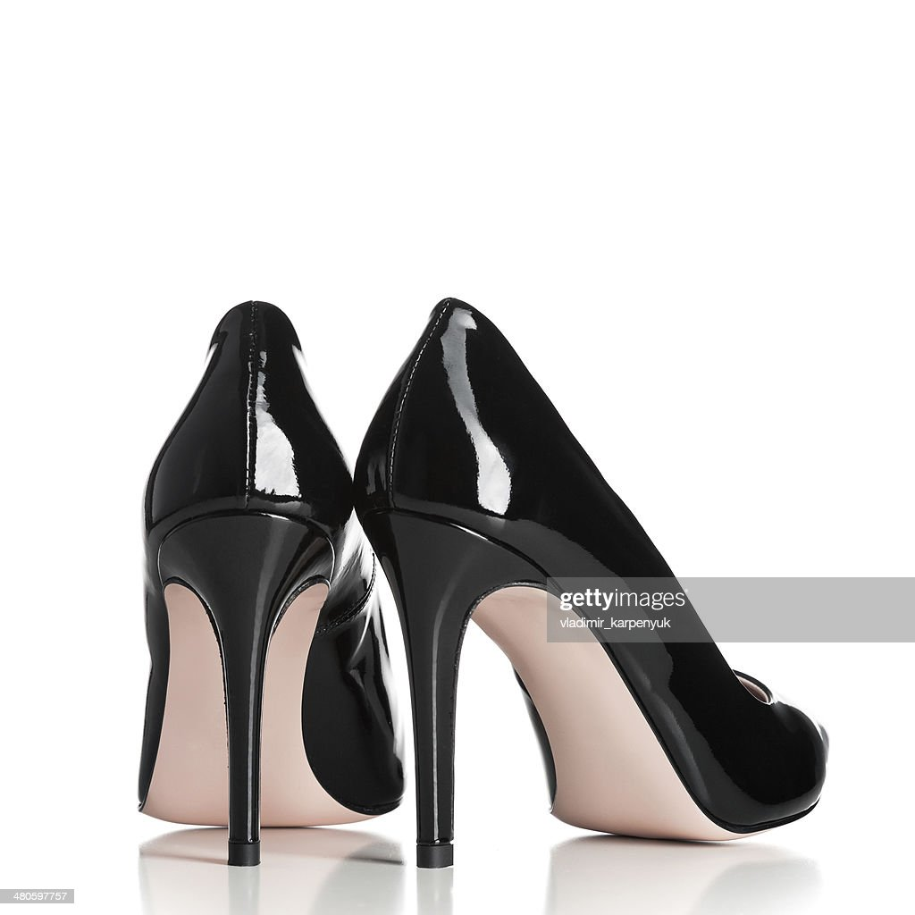 pair of black female high heel shoes : Stock Photo