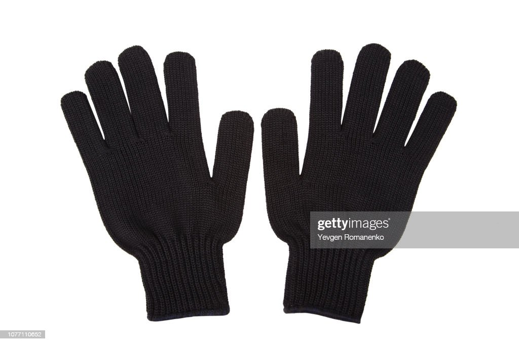 Pair of black knit gloves isolated on white background : Stock-Foto