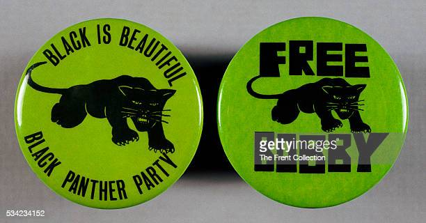 Pair of Black Panther party buttons one reading Black is Beautiful and one reading Free Bobby As one of the Chicago Eight Bobby Seale was charged and...