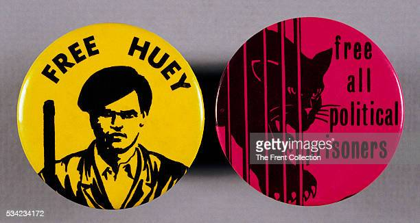 Pair of Black Panther party buttons one reading Free All Political Prisoners and one reading Free Huey in reference to Huey P Newton cofounder of the...