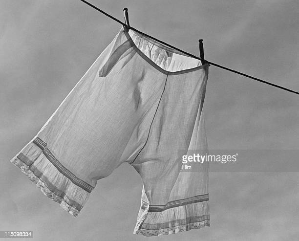 A pair of bloomers pegged on a washing line