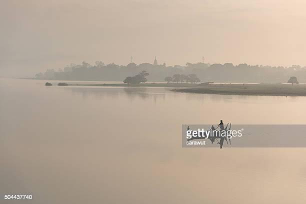 Pair of boats on the lake at Amarurapura