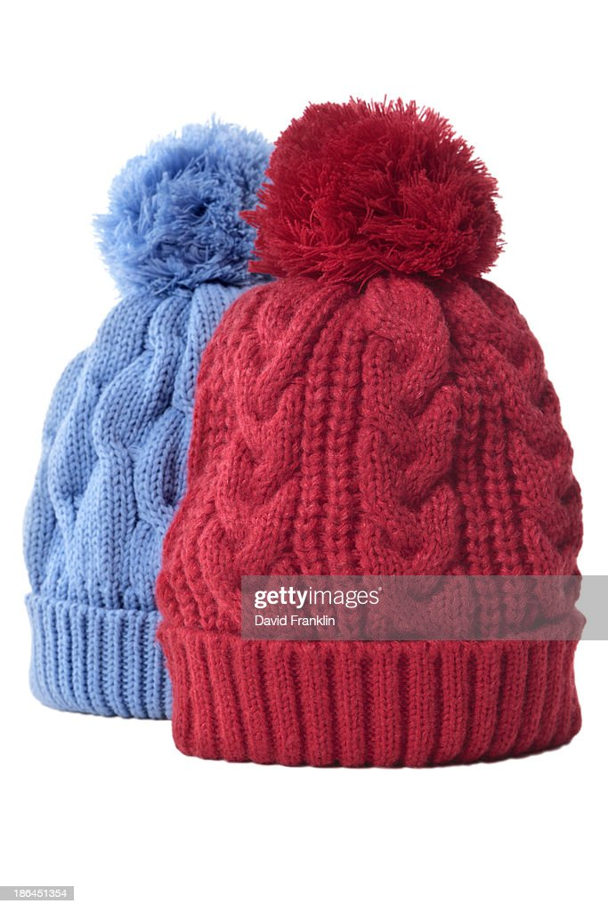 Pair of bobble hats : Stock Photo