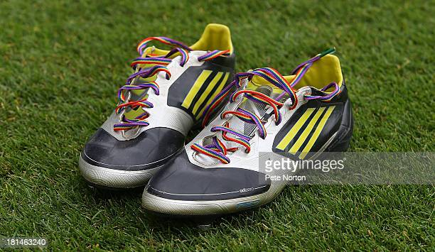 A pair of boots are seen with rainbow laces as part of a anti homophobia campaign prior to the Sky Bet League Two match between Mansfield Town and...