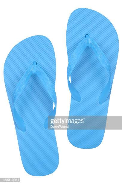 A pair of cheap blue flip flops