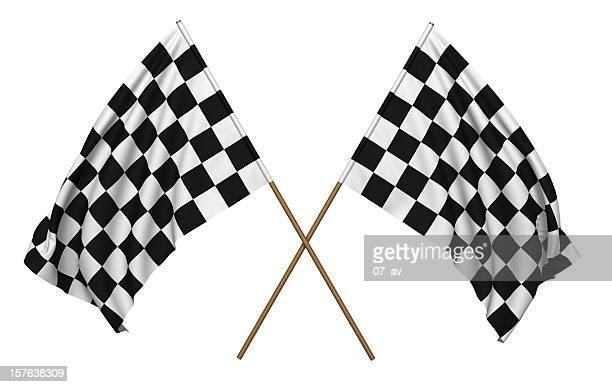 a pair of checkered flags that could be used for racing - finish line stock pictures, royalty-free photos & images