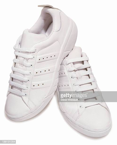 A pair of classic white tennis shoes