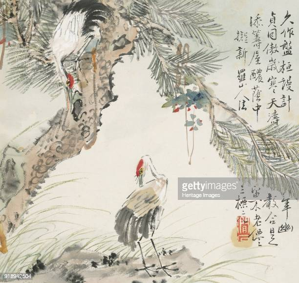 A pair of cranes by a pine tree 1857 Dimensions height x width page 287 x 267 cmheight x width painting 207 x 22 cm