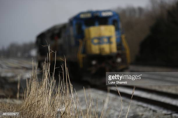 A pair of CSX Transportationowned C408 General Electric locomotives sit idle on a siding January 6 2014 in Worthville Kentucky Intermodal rail...