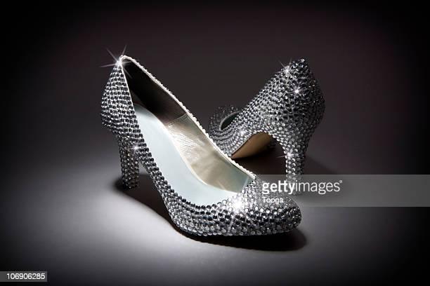 pair of diamond rhinestone shoes - rhinestone stock pictures, royalty-free photos & images