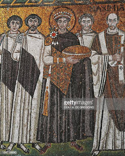 Pair of dignitaries Justinian Giuliano Argentario also interpreted as John or a prefect and Bishop Maximian detail from Emperor Justinian with his...