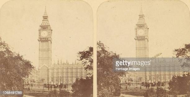 Pair of Early Stereograph Views of London, England, 1850s-70s. [New Houses of Parliament. The Clock Tower]. Artist Unknown.