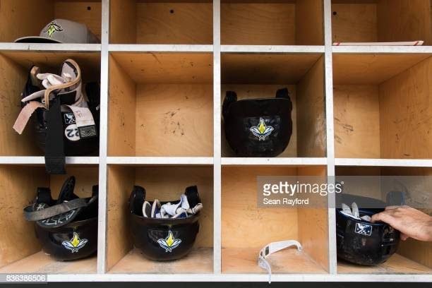Pair of eclipse glasses sits in the dugout during a minor league baseball game August 21, 2017 in Columbia, South Carolina. The astrological...
