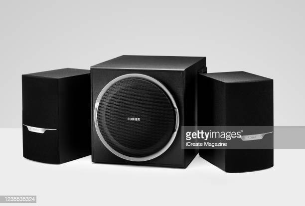 Pair of Edifier XM3BT speakers and subwoofer, taken on October 15, 2019.
